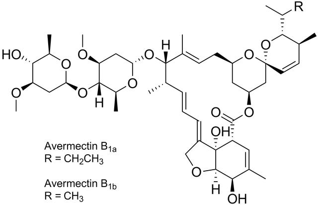 アベルメクチンB1aおよびアベルメクチンB1bの化学構造