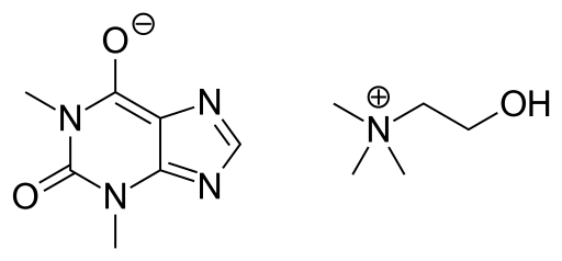 オキシトリフィリン(コリンテオフィリン)の化学構造
