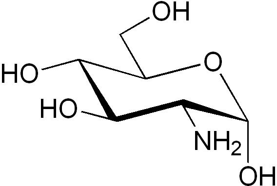 α-D-グルコサミンの化学構造