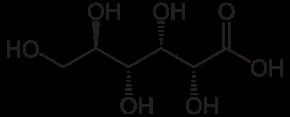グルコン酸の化学構造