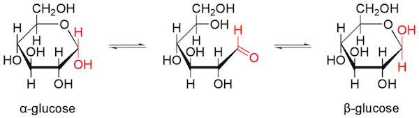 α-D-グルコース、β-D-グルコース、鎖状グルコースの化学構造