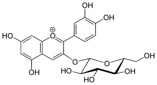 シアニジン-3-グルコシドの化学構造