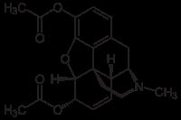 ジアモルヒネ(ヘロイン)の化学構造
